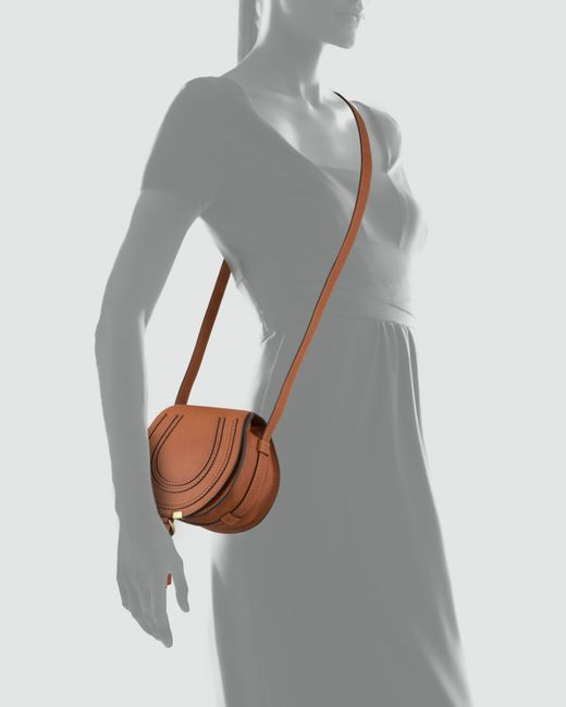 Chlo¨¦ Marcie Small Leather Cross-Body Bag in Brown (TAN) | Lyst