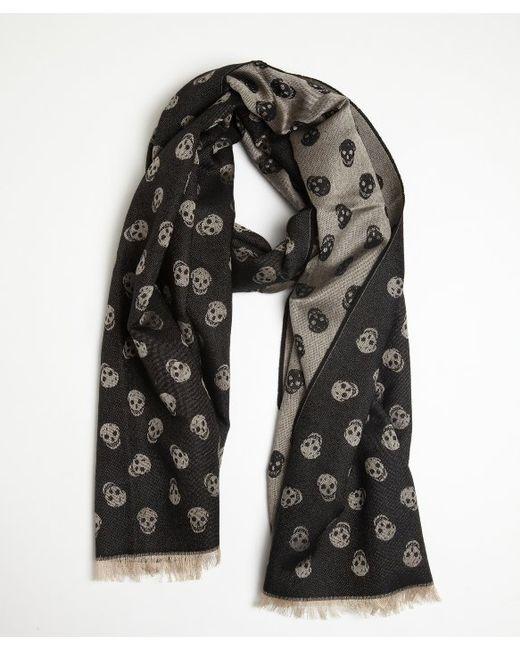 mcqueen woven skull scarf in white for