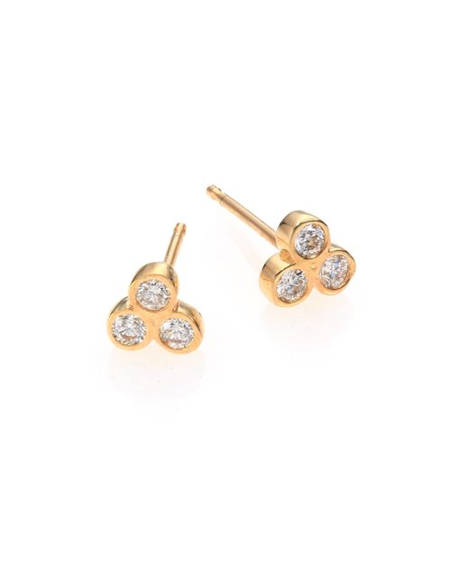 Zoe Chicco | Metallic Diamond & 14k Yellow Gold Three-bezel Stud Earrings | Lyst