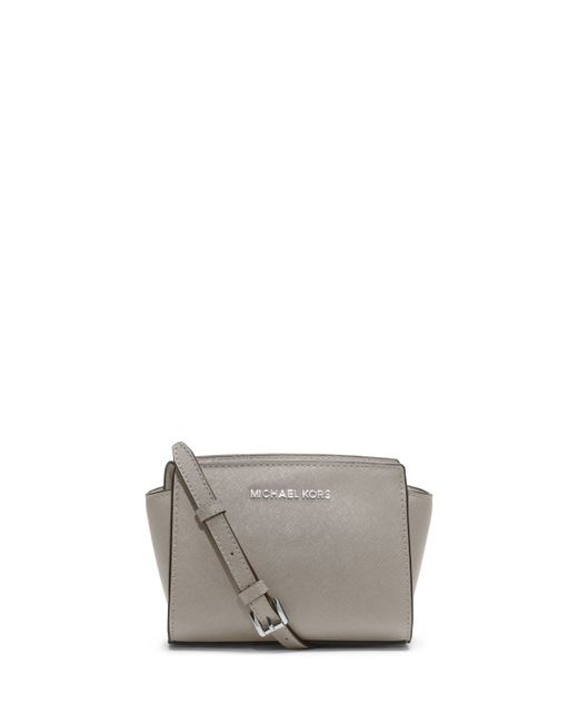michael michael kors selma mini saffiano messenger bag in gray pearl gray lyst. Black Bedroom Furniture Sets. Home Design Ideas