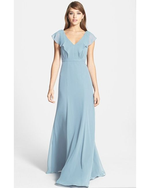Jenny Yoo | Blue 'cecilia' Ruffled V-neck Chiffon Long Dress | Lyst