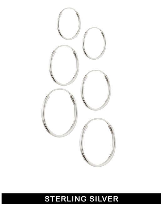 ASOS | Metallic Pack Of 6 Sterling Silver Hoop Earrings - Silver | Lyst