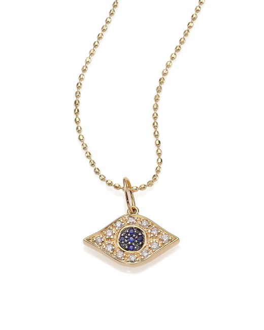 Sydney Evan | Metallic Diamond, Sapphire & 14k Yellow Gold Evil Eye Necklace | Lyst