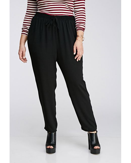 Forever 21 | Black Plus Size Drawstring Woven Pants | Lyst