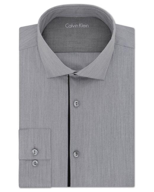 Calvin klein men 39 s x extra slim fit stretch smokey grey for Calvin klein slim fit stretch shirt