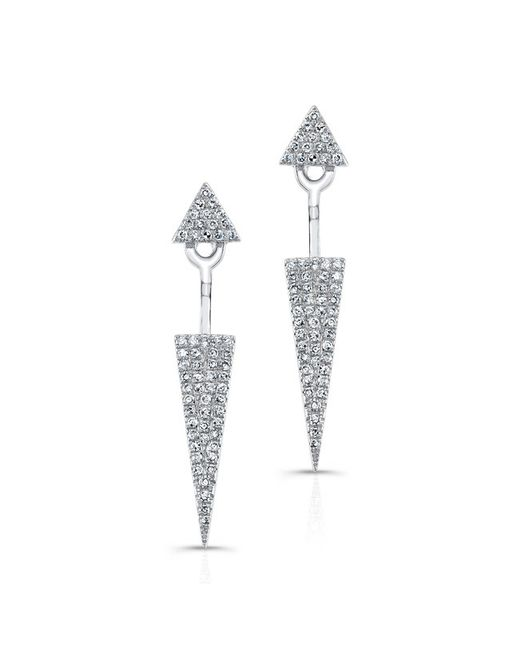 Anne Sisteron | Metallic 14kt White Gold Diamond Double Triangle Floating Earrings | Lyst