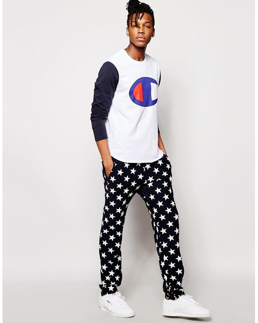 Champion Joggers With All Over Star Print In Black For Men