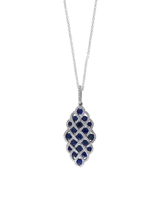Effy | Blue Royale Bleu Sapphire, Diamond And 14k White Gold Lattice Pendant Necklace, 0.49tcw | Lyst