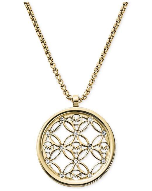 Michael Kors   Metallic Clear Open Logo Pendant Necklace   Lyst