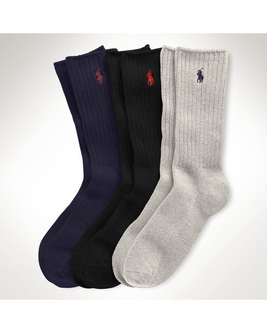 Polo Ralph Lauren | Blue Crew Sock 3-pack Set for Men | Lyst