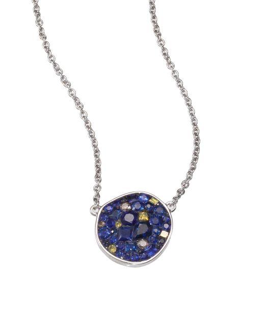 Plevé | Metallic Deep Ocean Multicolor Sapphire, Diamond & 18k White Gold Pebble Pendant Necklace | Lyst