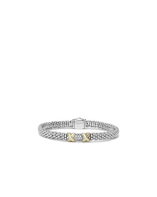 Lagos | Metallic Diamond Lux 18k Gold And Sterling Silver Bracelet With Pavé Diamonds | Lyst