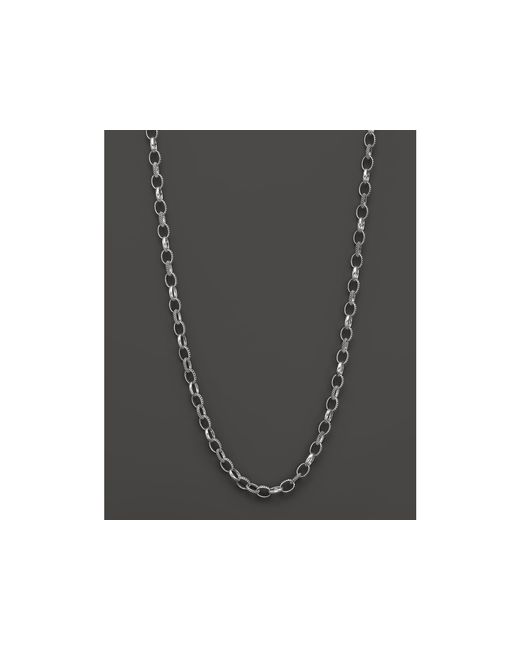 Lagos | Metallic Sterling Silver Caviar And Smooth Link Chain Necklace, 24"