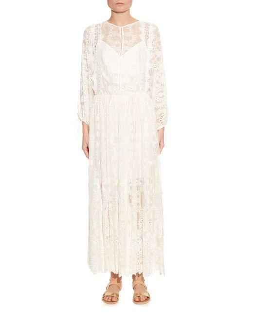 Zimmermann alchemy embroidered silk maxi dress in white lyst