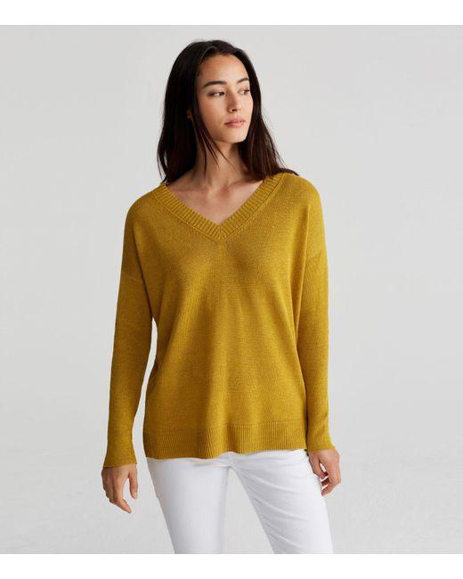 Lyst Eileen Fisher Organic Linen Knit V Neck Sweater In