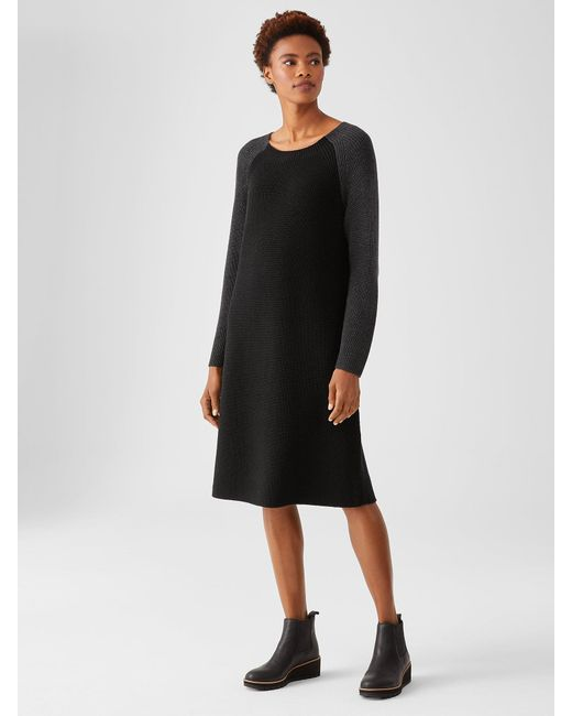 Eileen Fisher Black Merino Rib Dress