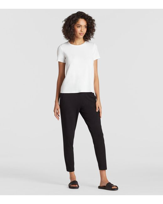 Eileen Fisher - White System Viscose Jersey Tee - Lyst