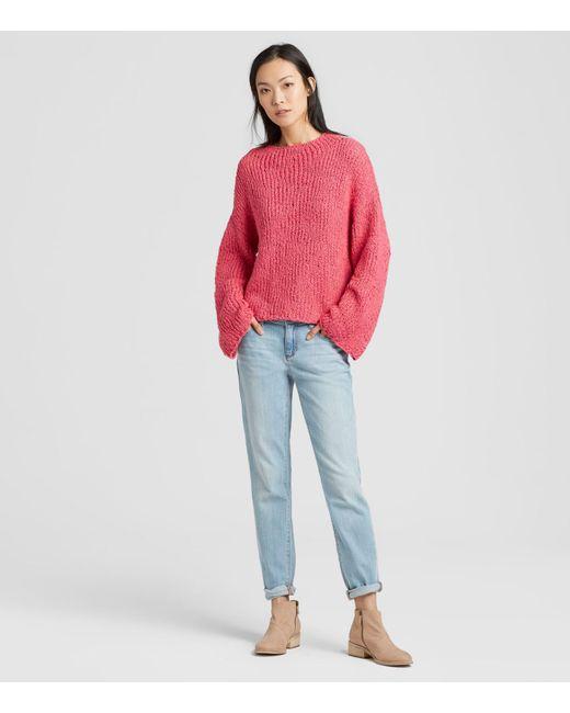 2bddc1196cf24b Eileen Fisher - Red Peruvian Organic Cotton Funnel Neck Box-top - Lyst ...