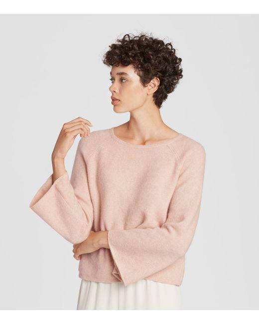 f7317c003368de ... Eileen Fisher - Pink Cashmere Silk Bell-sleeve Top - Lyst