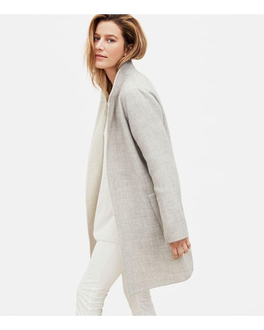 Eileen Fisher Multicolor Alpaca Stand Collar Coat
