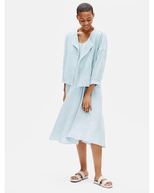 Eileen Fisher Blue Heavy Organic Linen Drape Front Jacket