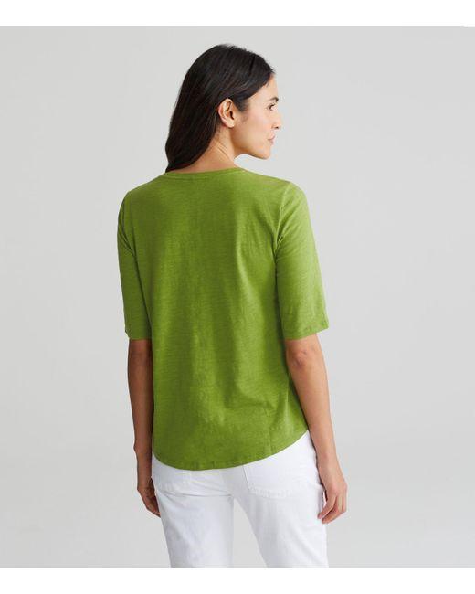 Lyst eileen fisher organic cotton jersey slub elbow for Eileen fisher organic cotton t shirt