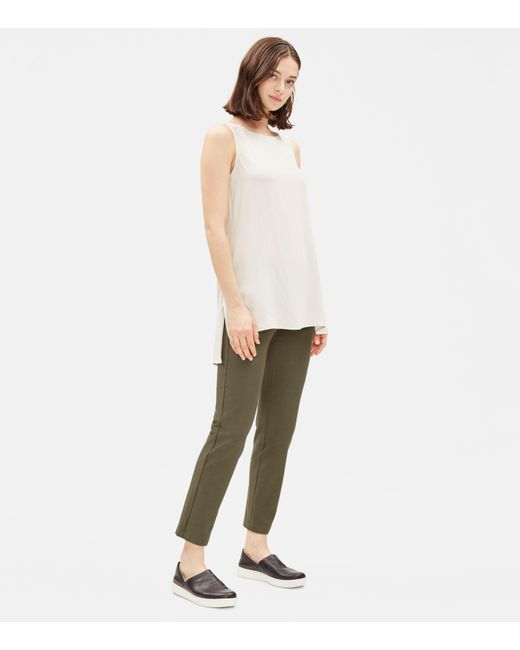 Eileen Fisher Green Washable Stretch Crepe Slim Pant