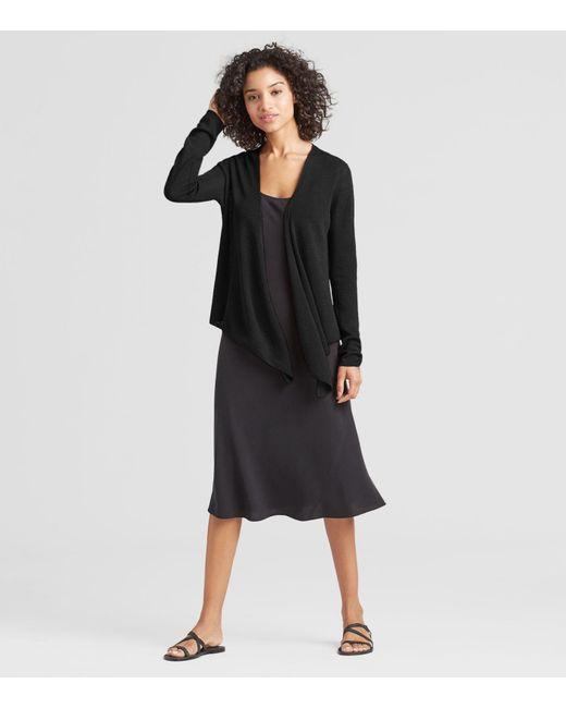 Eileen Fisher - Black Exclusive Organic Linen Crepe Tie-front Cardigan - Lyst