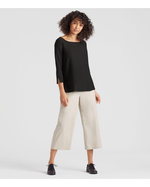 Eileen Fisher - Black Lightweight Washable Stretch Crepe A-line Top - Lyst