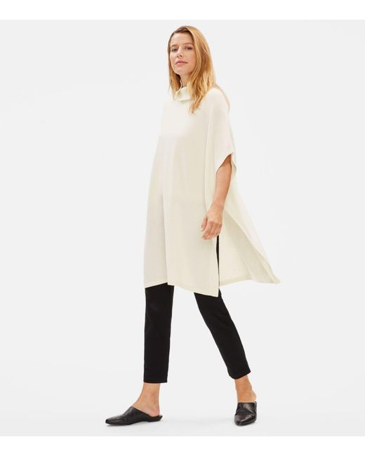 Eileen Fisher Natural Italian Cashmere Turtleneck Poncho