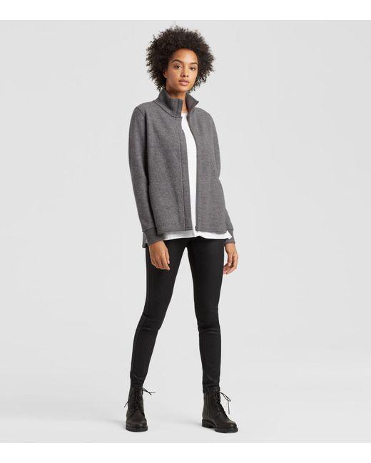 Eileen Fisher - Gray Boiled Wool Zip Jacket - Lyst