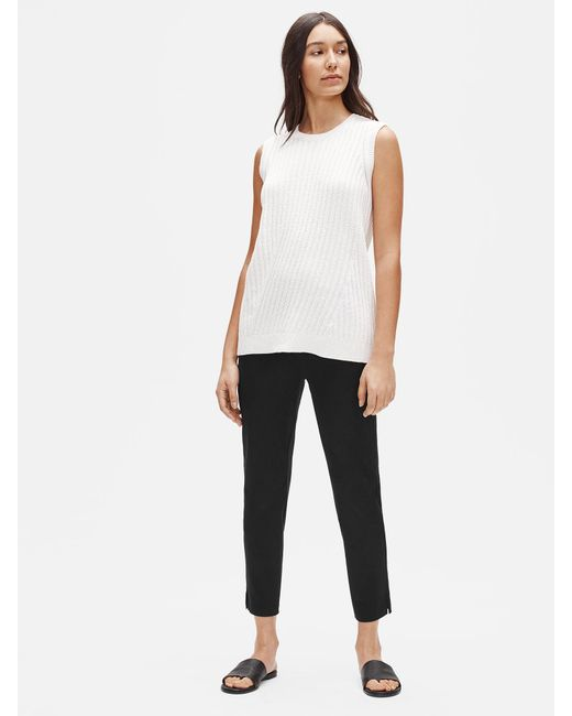 Eileen Fisher Black Organic Cotton Slim Ankle Pant