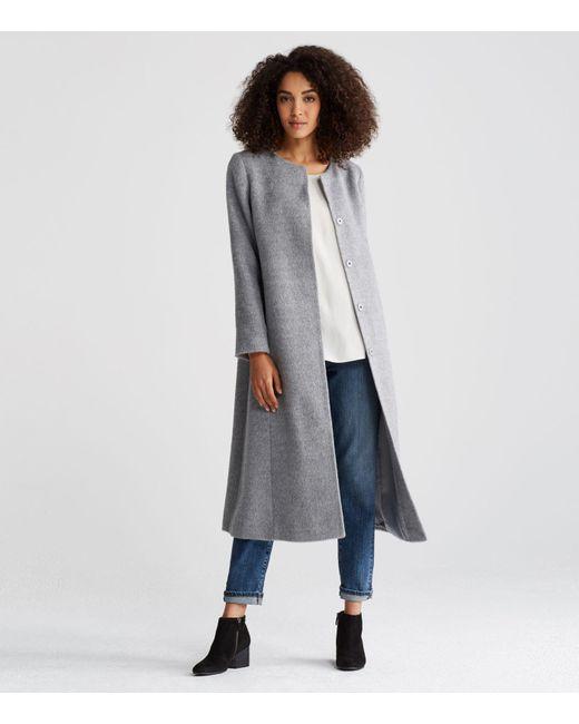 Eileen Fisher | Gray Suri Alpaca Long Coat | Lyst