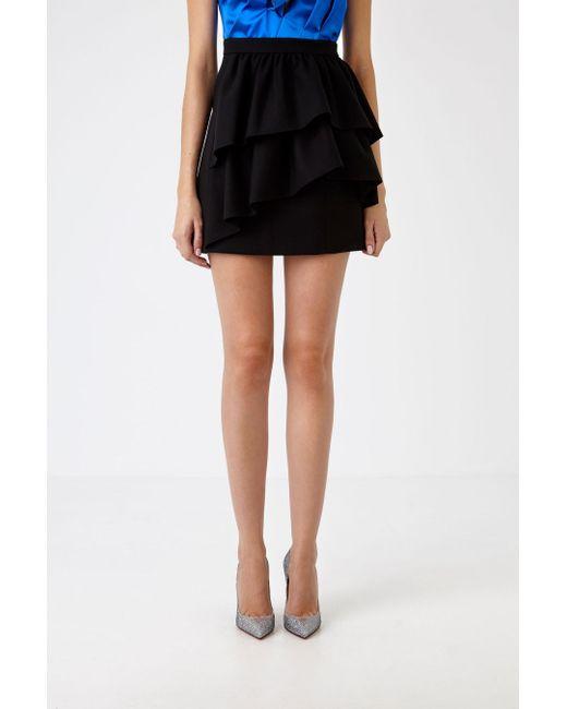 bb09f448804 Saint Laurent - Black Ruffled Mini Skirt - Lyst ...