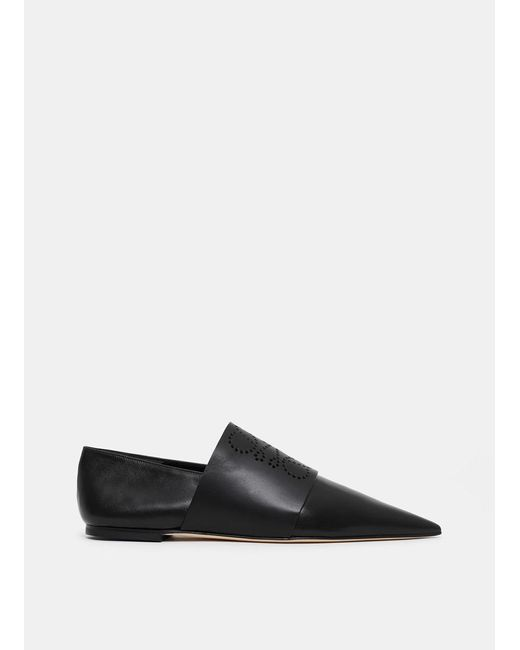 Loewe Black Pointy Mules With Perforated Anagram