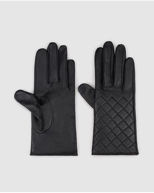 El Corte Inglés Quilted Black Leather Gloves
