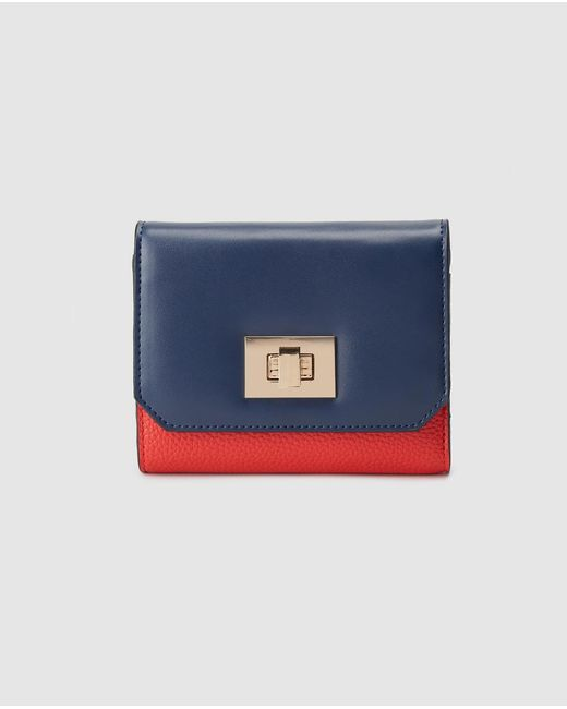 El Corte Inglés Small Navy Blue And Red Wallet With Fastener