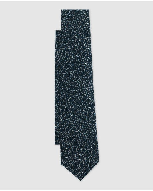 Lanvin - Navy Blue Silk Tie With An Embellished Micro-print for Men - Lyst