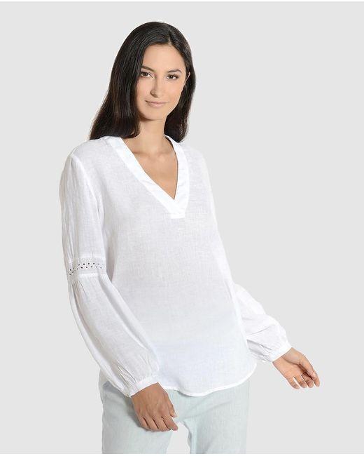 120% Lino Blusa De Mujer Manga Larga Sin Cuello de color blanco AOiM7