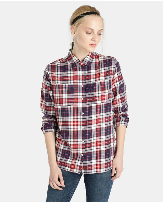 Tommy Hilfiger | Red Checked Shirt With Pockets | Lyst