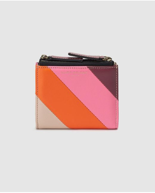 Kurt Geiger Pink Small Multicoloured Leather Wallet With Fastener