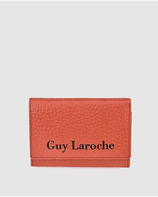 Guy Laroche Orange Grainy Leather Small Wallet With Fastener