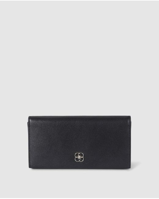 Gloria Ortiz Love Story Medium Black Leather Wallet With Fastener