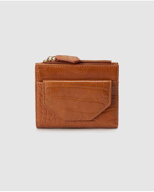 El Corte Inglés Mini Brown Embossed Wallet With Fastener