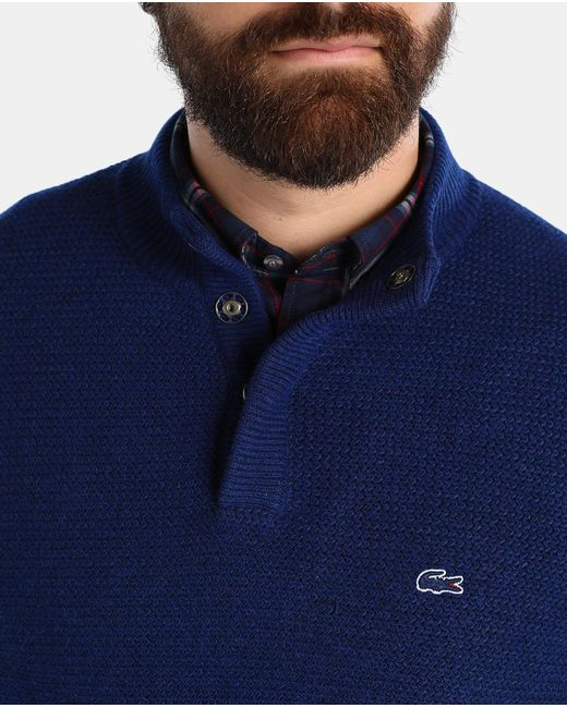 Lacoste Big And Tall Sweater With A Polo Neck In Blue For