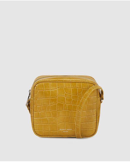 Gloria Ortiz - Miriam Mustard Yellow Mock-croc Leather Mini Crossbody Bag - Lyst