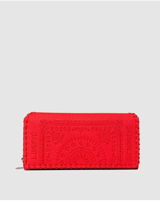 Desigual Soft Bandanna Large Red Wallet With Embroidery And Fastener