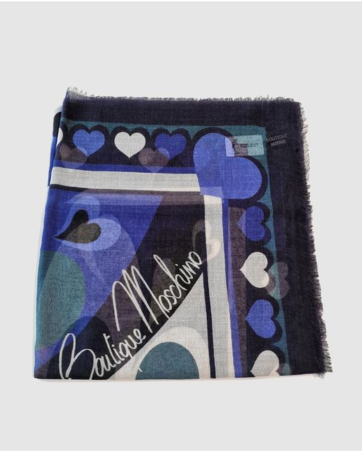 Boutique Moschino Wool Handkerchief In Blue Tones With Logo Print