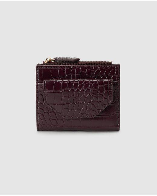 El Corte Inglés Purple Mini Burgundy Embossed Wallet With Fastener