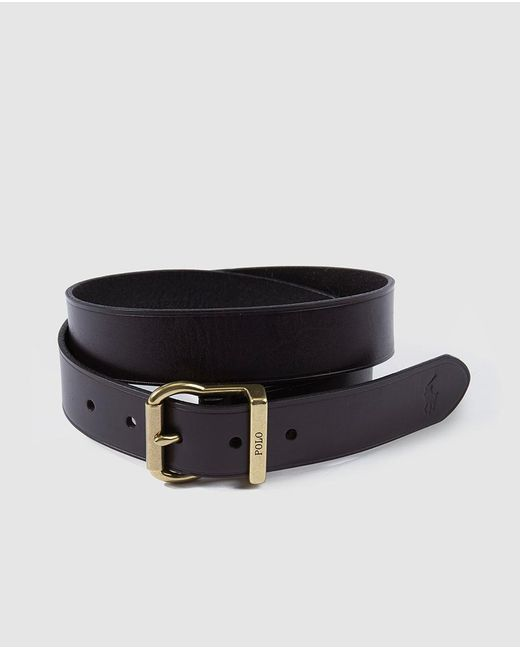 polo ralph mens brown leather belt in brown for